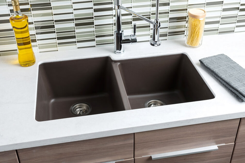 Hahn-Brown-Granite-Extra-Large-60/40-Double-Bowl-Sink